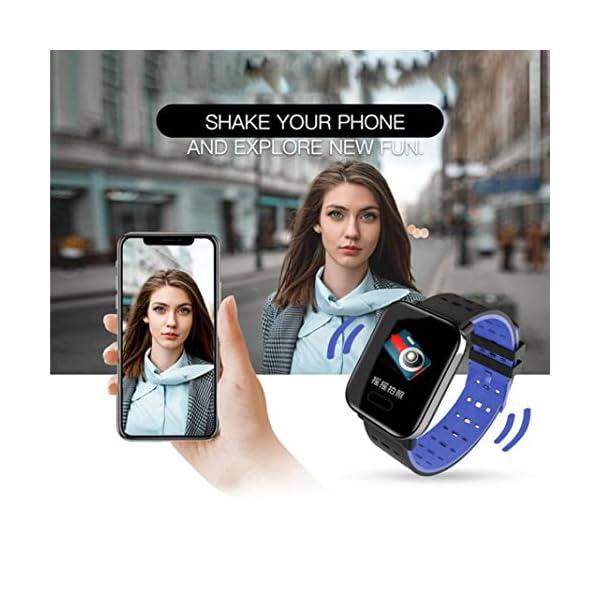Pulsera inteligente con monitor de actividad física, pantalla de color A6, Bluetooth, monitor de ritmo cardíaco, podómetro, pulsera inteligente para niños, mujeres y hombres azul 7