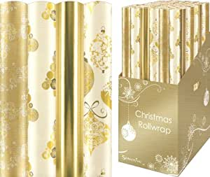 4 Pack Of Christmas Wrapping Paper Gold White