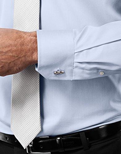 Vincenzo Boretti Herren-Hemd Bügelfrei 100% Baumwolle Slim-Fit Tailliert Uni-Farben - Männer Lang-Arm Hemden für Anzug mit Krawatte Business Hochzeit Freizeit Eisblau