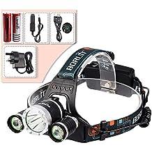 ALED LIGHT® 5000 Lumen del CREE XM-L XML T6 LED de 3 x Faro de luz la cabeza del faro lámpara de la linterna + 2 x 18650 batería + 1 x cargador de CA + 1 x Cargador de coche para deportes al aire libre que acampa yendo de pesca lago (3 * T6 del faro)