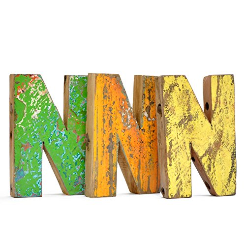 Letra N de madera reciclada - Fantastik