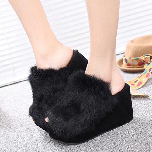 DM&Y 2017 versione coreana del pendio signora pantofola peluche con crosta spessa focaccina pantofole coniglio tacco alto Black