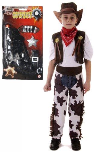Jungen Kostüm Cowboy, 7-teiliges Set-Alter 3-12 Gun (Weste Und Chaps Set Kostüme)