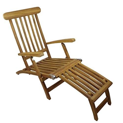 Teakholz Deck Chair mit Armlehne, Edelstahlschrauben und Edelstahbeschlägen, 60x93x150cm, 75%...
