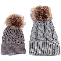 Oyedens mamma e bambino inverno maglia cappello pelliccia lana beanie caldo sci Cap Set