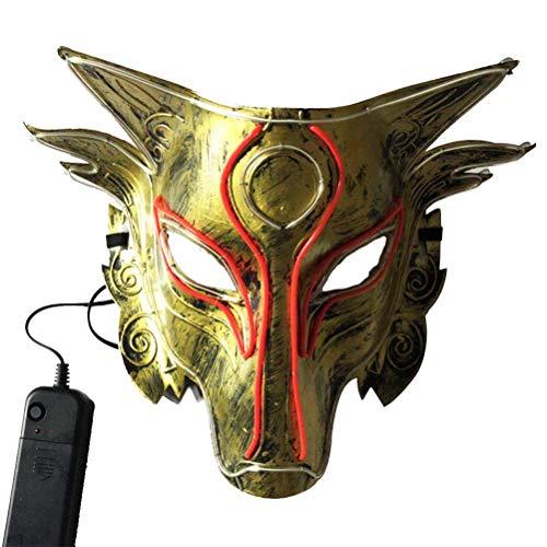 Kostüm Up Light Halloween - Amosfun Halloween Wolf LED Maske Wolf Head Light Up Maske Tier Kostüm Maske Halloween Cosplay Gesicht Abdeckung (ohne Batterie)