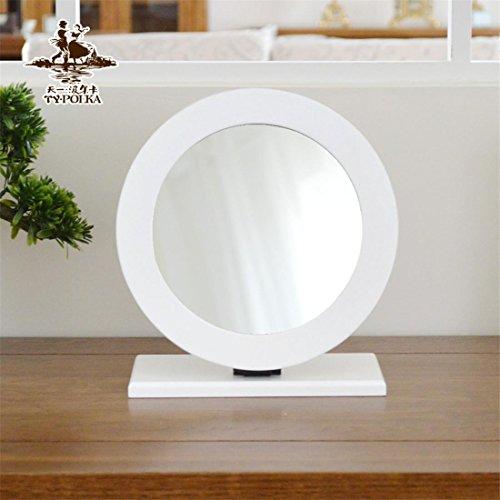 Meydlee Rund Holz Folding Tabletop-Verfassungs-Spiegel , white