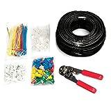 MutecPower - CAT5E Patchkabel [100m] - UTP - Ethernet Netzwerkkabel - SCHWARTZ - Mit Crimpzange + 50 RJ45 PCS + 100 Kabelschellen + 100 Kabelbinder + 50 Anschlussteckers - CCA - 100 meter