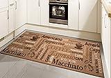 Teppich Modern Flachgewebe Gel Läufer Küchenteppich Küchenläufer Braun Beige Schwarz mit Schriftzug Coffee Macchiato Cappuccino Espresso Größe 67x180 cm