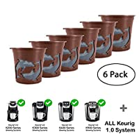 Refillable K-Cups Reuse Coffee Filters for Keurig Brewers - Fits K200, K300, K400, K500 Series and all 1.0 Brewers (Brown,6-Pack)