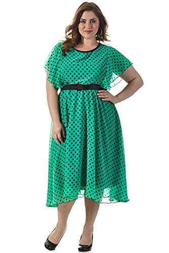 Flutter Sleeve Knit Dress (Celebrations Women's Plus Size Get Spotted Dress 18 Green/Black Dots)