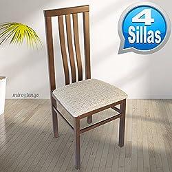 Pack 4 sillas Eko de madera maciza wengué y tapizado arena. 102x45x45cm