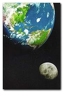 Planète Terre avec Lune dans l'espace Décor mural éducatif Art Poster Print (40 x 50)