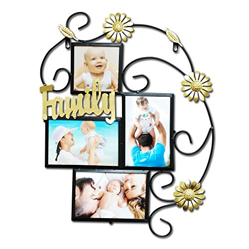 Vintage Style Home Decor (Abbie Home 9-Openings Metall Foto Bild Collage Frame-Antique Vintage Style Home Décor, Metall, Schwarz, 16.25*13.25*0.5