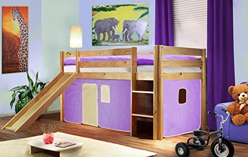 Sixbros. kids letto rialzato letto a soppalco cameretta bambino con scivolo pino massiccio verniciato/naturale - viola/beige - shb/11/1033