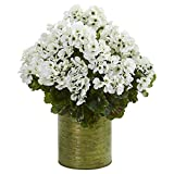 Best Nearly Natural Indoor Plants - NearlyNatural 8179-WH Geranium Artificial Plant in Metal Planter Review