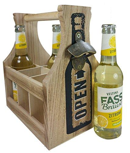 khevga stabiler Flaschenkorb aus Holz mit Öffner - Bierträger 6 Flaschen