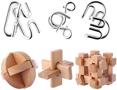 FOKOM 6pcs Calendrier de L'Avent Casse-têtes Puzzle Métal Bois Puzzle 3D Brainteaser Jigsaw Jouet Intellectuel pour Adulte et  s | De Nouvelles Variétés Sont Introduites L'une Après L'autre