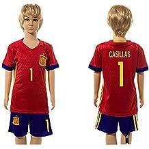 20162017Super Popular España 1Iker Casillas Home para niños Kid jóvenes camiseta de fútbol juegos en rojo, Infantil, rojo, medium