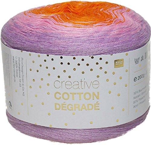 Rico Creative Cotton Degrade 200 g Bobbel = 800 m Farbverlaufsgarn zum Häkeln und Stricken 009 rosa-orange