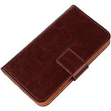 """Gukas Flip PU Billetera Design Funda De Carcasa Cartera De Cuero Case Cover Piel Para Acer Liquid Z220 / M220 4"""" Brown"""