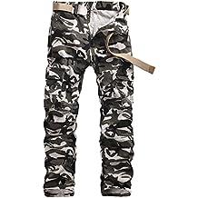 ZKOO Hombre Camuflaje Cargo Pantalón Militares Largo Pantalone Algodón Trabajo Deporte Pantalones Pants al aire libre Ocio con Muchos Bolsillos