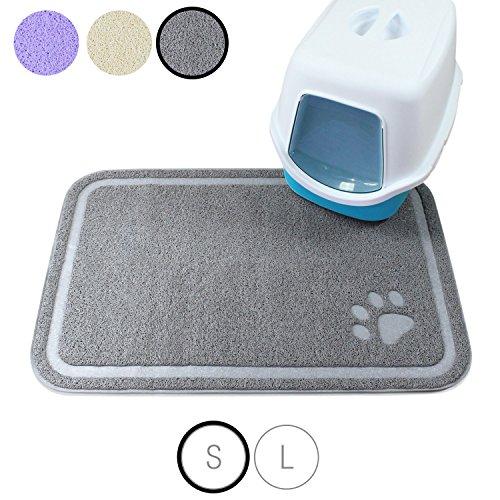 Amazy Katzenstreu Matte – Rutschfeste und pflegeleichte Unterlage fürs Katzenklo für eine saubere, aufgeräumte Wohnung (grau | klein – 60 x 90 cm)