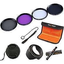 K&F Concept 67mm UV CPL FLD ND4 Lens Accessory Filter Kit UV Protector Circular Polarizing Filter Neutral Density Filter for Canon 7D 700D 600D 70D 60D 650D 550D for Nikon D7100 D80 D90 D7000 D5200 D3200 D5100 D3200 D5300 DSLR Cameras + Cleaning Pen + Petal Lens Hood + Center Pinch Lens Cap + Cap Keeper + Filter Bag Pouch