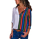 VEMOW Sommer Herbst Frühling Elegante Damen Frauen Casual Cuffed Langarm V-Ausschnitt Casual Täglichen Arbeit Taste up Gestreiftes Hemd Bluse Tops(X-a-Mehrfarbig3, EU-44/CN-XL)
