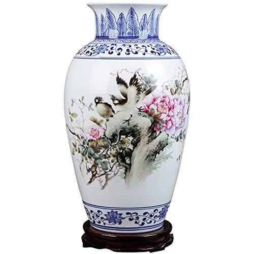 TapTheGlaze Dekorative Vasen Für Wohnzimmer Tisch,Handgefertigte Vintage Chinesische Keramik Vase Für Wohnkultur,Handbemalte Farbenfrohe Vögel Und Pfingstrose Blüten,China Porzellan Artwork China Vase