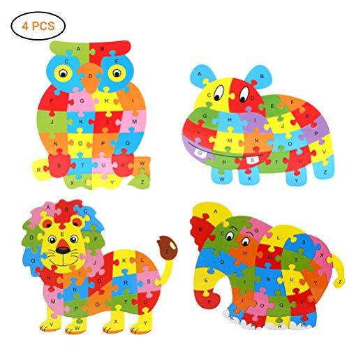 SayHia 4 PCS Kinder Puzzle, Tierisches hölzernes Puzzlespiel hölzerner Owl Lion Hippo Alphabet Anzahl Blöcke Holz Tier Puzzle Kid Spielzeug
