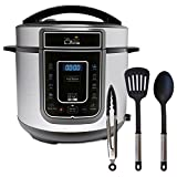 Pressure King Pro 12-in-1 Electric Pressure Cooker, 5 litre, 900 W, Chrome with 3 piece Utensil Set Plus 3 Year Extended Warranty (As Seen on High Street TV)