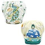 MMCP Nuotare Pannolini, Stampa Bambino Assorbente Costume da Bagno Riutilizzabile Regolabile per 0-36 Mesi Neonati Neonato Nuoto Pantaloni per Ragazzi & Girls (2 pz)