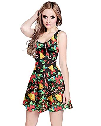 CowCow Womens Fashion Candy Cane & Jingle Bell Sleeveless Skater Dress - XS