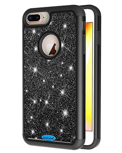 JanCalm Glitzer-Schutzhülle für iPhone 6 Plus/6S Plus/7 Plus/8 Plus, modisch, glitzernd, zweilagig, Hybrid, stoßfest, für Mädchen, Frauen, mit Kristallstift, schwarz (Entsperrt Iphone 6 Plus)
