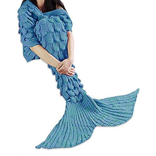MOONPOP Mermaid Schwanz Blanket Elastizität Meerjungfrau Flosse Decke Handgemachte Stricken Gestrickte Schlafsack Decke Sofa Schlafdecke 110*210cm (Blau mit Lila)