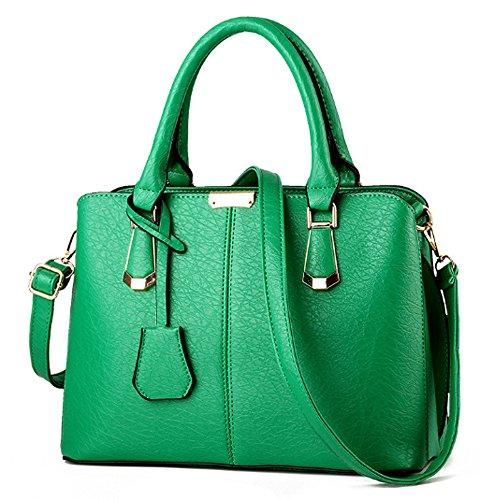 FiveloveTwo Damen Elegant PU Leder Schultertasche Shopper Top-Griff Tragetaschen Umhängetasche Große Handtasche und Geldbörsen Grün -