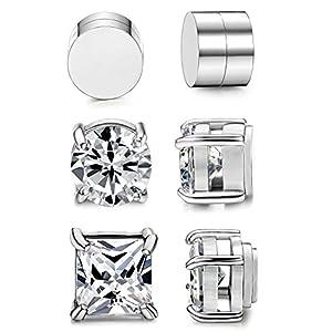 BESTEEL 3 Paare Edelstahl Magnet Ohrringe für Herren Damen Mädchen CZ Ohrringe Ohrstecker Clips Non Piercing 6-8MM