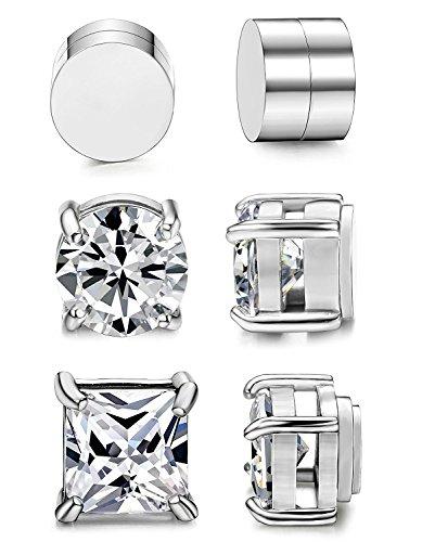 BESTEEL 3 Paare Edelstahl Magnet Ohrringe für Herren Damen Mädchen CZ Ohrringe Ohrstecker Clips Non Piercing 8MM -