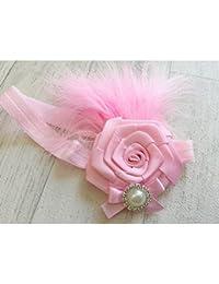 Rose - Bandeau cheveux bébé/enfant Plumes