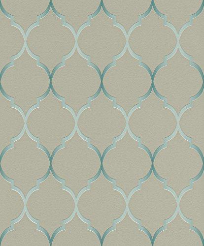 Größe: 0,53 x 10,05 m - Farbe: grau, blau, mint - Stil: Muster & Motive (modern) ()