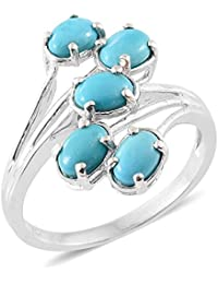 Sleeping Beauty Turquoise 5 Stone Ring in Platinum Overlay Sterling Silver 2 Ct
