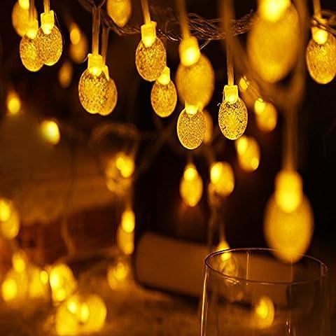 Zoweetek Cadena de luces LED Salcar de colores, de 10 metros y 100 farolillos. Decoración para navidad, fiestas y celebraciones (blanco cálido)