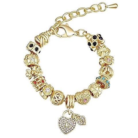MANBARA Zwei herzförmigen anhänger Schloss mehrfarbige Kristall perlen Dame armband 18k gelbgold 500FJ