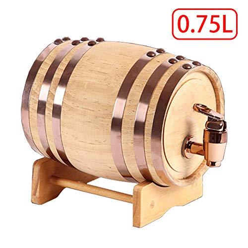 Weinfass - Siegel Eichenfass Firma Weinbereitung Holzwaren Quality Holzfass Liner Keine Leckage Massives Schnapsfass Unlackiertes Holzfass Zapfhahn,0.75L