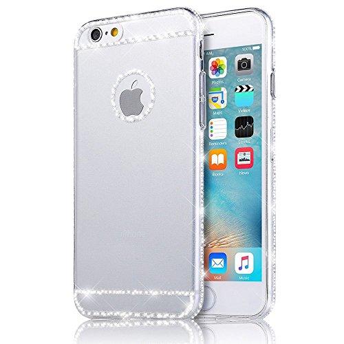 JAWSEU iPhone 6 Plus/6S Plus Durchsichtig Hülle,Luxus Strass Glitzer Rahmen Weiche Silikon Soft Gel Ultra Dünne Crystal Clear Perfekter Schutz Helle Glänzende Strass Tpu Schale Zurück Schutzhülle Tasche Case Cover für iPhone6 Plus/6S Plus 5.5