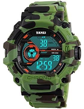 XLORDX Herren Kinder Digital Armbanduhr LED Camo Sportuhr Stoppuhr Wecker Wasserdicht Quarzuhr Taschenuhren Grün