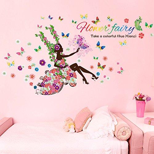 Wandaufkleber Neues Angebot Schaukel Schaukel Schönheit Blume Fee Schlafzimmer Wohnzimmer Tv Wanddekoration Wandaufkleber