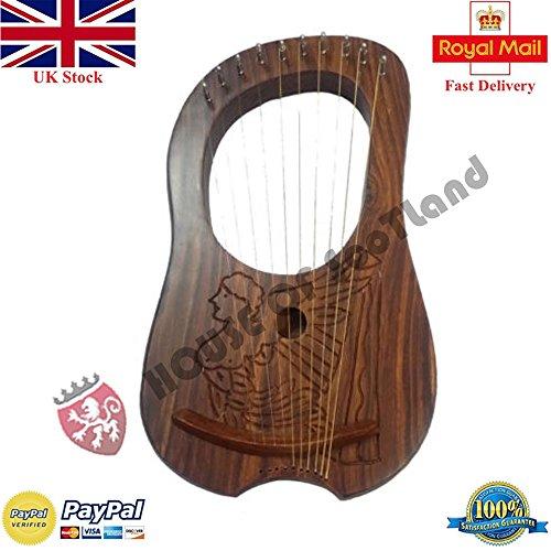 Lyra Harfe 10Metall-Saiten Hand Gravur/Lyra Harfe verschiedenen Designs Natural Queen Harp -