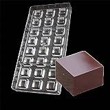 Vak 24cavités carré Moule à chocolat en polycarbonate Candy Plateau moule à gelée d'injection de rigide PC Chocolat Moules Bakeware Pan–27.5x 13.5x 2.4cm